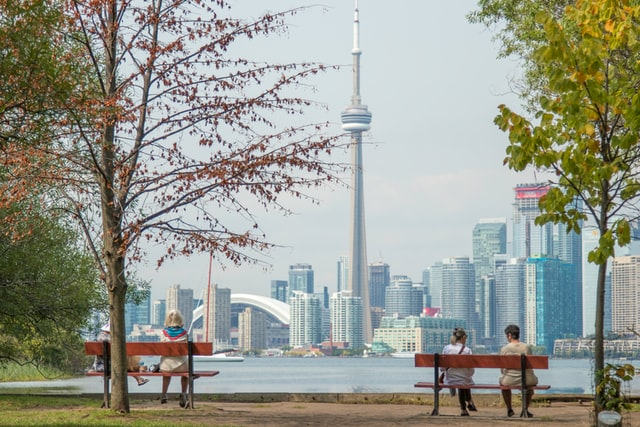 Toronto CN view from park bench
